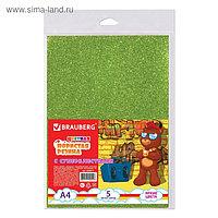 Цветная пористая резина (пенка в листах) для творчества А4, 5 листов, 5 цветов, суперблестки