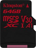 Карта памяти MicroSD 64GB Class 10 U3 A1 Kingston SDCR/64GB