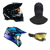 Снегоходные шлемы, очки, балак...