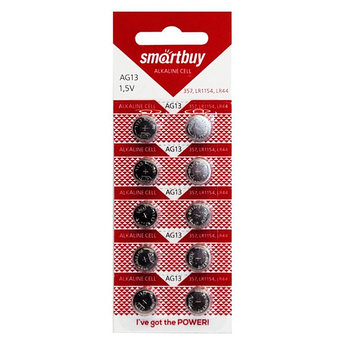 Батарейка часовая Smartbuy AG13 (LR44, SR44, R44, A76, G13, V13, 357A) 10 шт в уп.