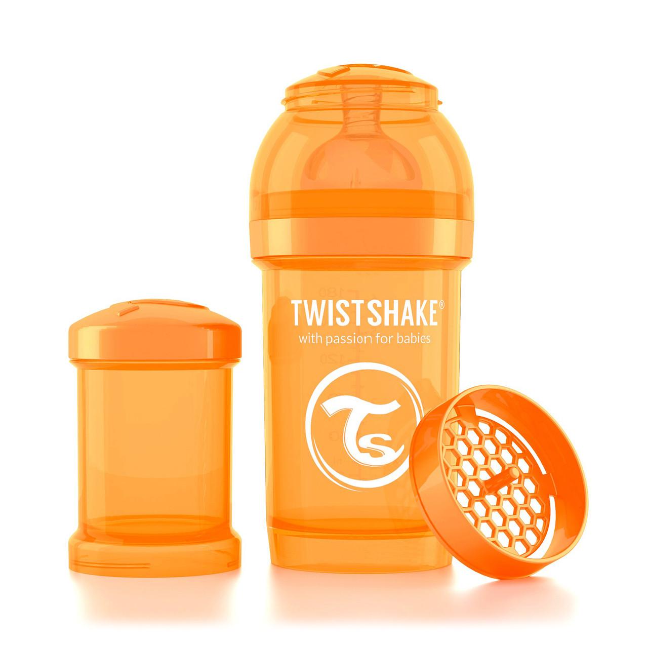 Антиколиковая бутылочка Twistshake для кормления 180 мл. Оранжевая (Sunbeam)