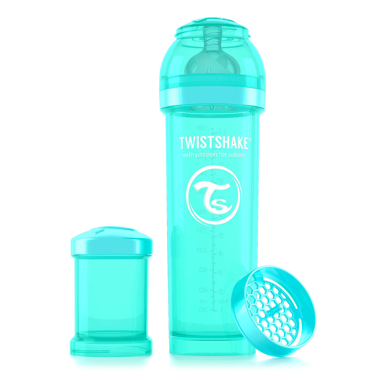 Антиколиковая бутылочка Twistshake для кормления 330 мл. Бирюзовая (Sleepyhead)