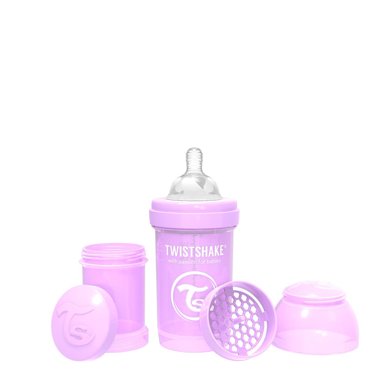Антиколиковая бутылочка Twistshake Pastel для кормления 180 мл.  Фиолетовая