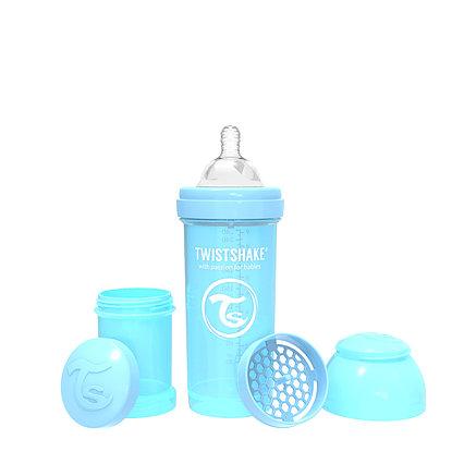 Антиколиковая бутылочка Twistshake Pastel для кормления 260 мл. Синяя