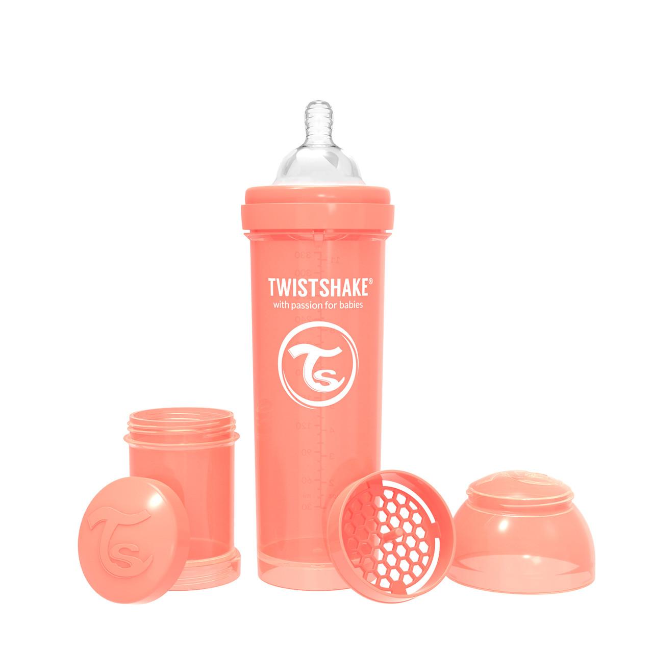 Антиколиковая бутылочка Twistshake Pastel для кормления 330 мл. Персиковая