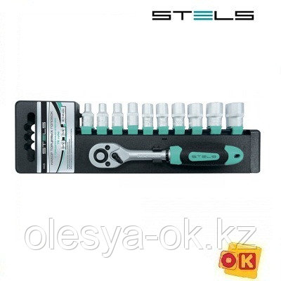 Набор головок 1/4 с трещоточным ключом STELS