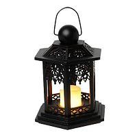 Фонарь деревянный черный со свечой 270-38