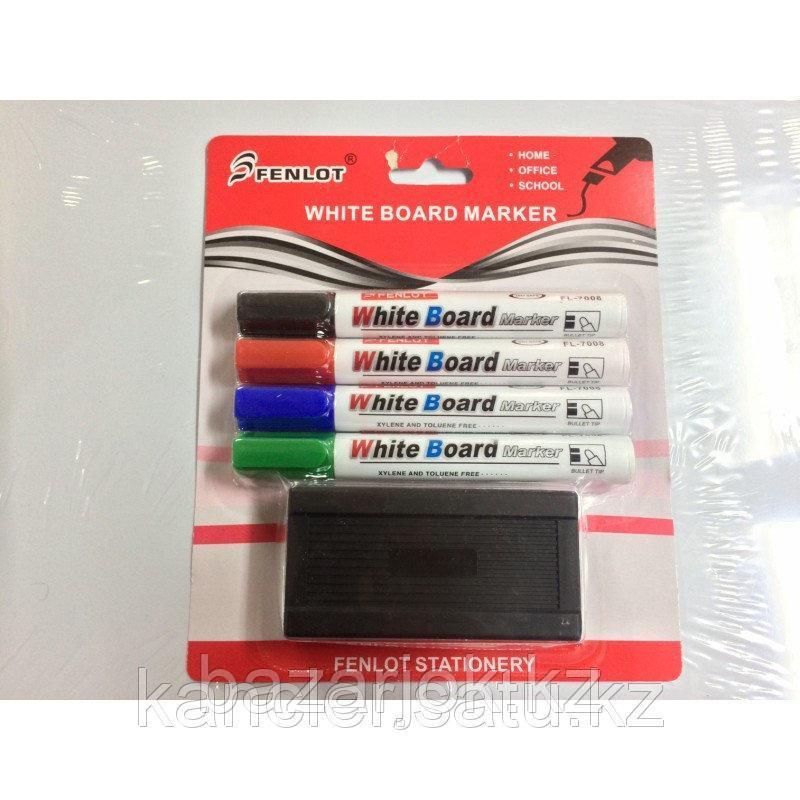 Набор маркеров для белой доски  4цв в блистере + губка