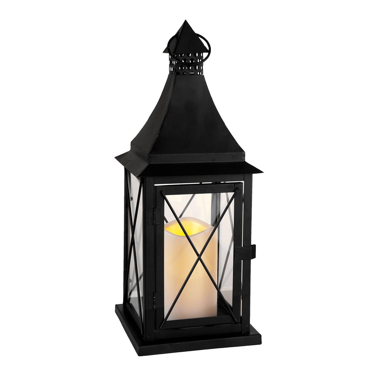 Фонарь металл/стекл черный со свечой 066-85