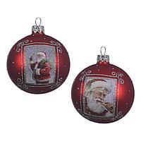 Шар стекло Дед Мороз красный KA057229