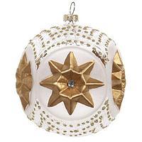 Шар стекло бело-прозрачный с золотой звездой SH35061