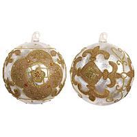Шар стекло белый заледенелый с золотым орнаментом SH38636