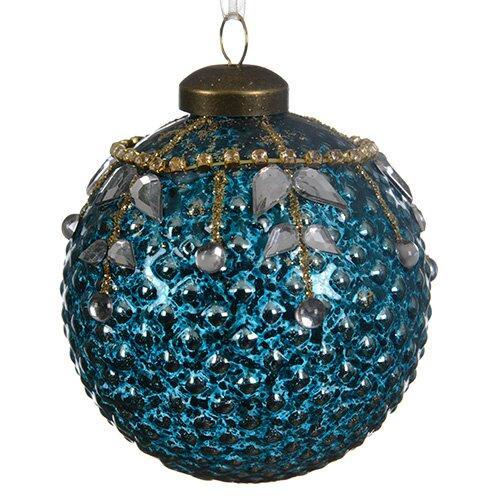 Шар стекло бирюзовый с листьями из страз KA060346