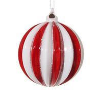 Шар стекло в красно-белую полоску d8см SH45975