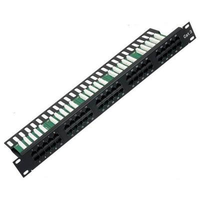 """Коммутационная панель AMP 19"""" 1U (50 портов RJ-45, телефонная, контакты типа LSA+, черный)"""