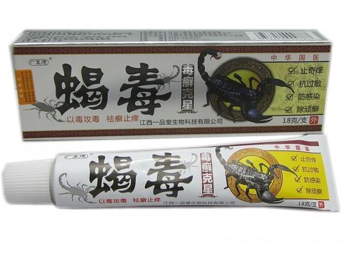 Мазь на основе яда скорпиона от псориаза, экземы, дерматита, зуда «Пихюань седу»