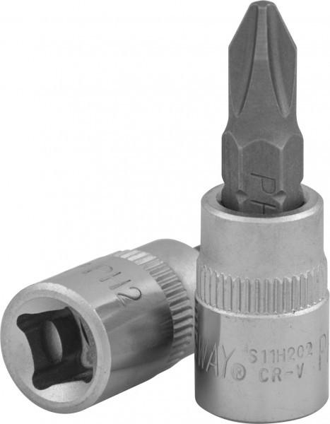 """Насадка торцевая 1/4""""DR с вставкой-битой крестовой, РН2, 37 мм S11H202"""