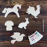 Набор для творчества 'Животные', 2, 5 фигурок, акриловые краски, кисть, буклет