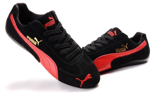Кроссовки Puma Ferrari замшевые черно-красные