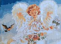 "Картины по номерам ""Ангелочек с птичкой"""