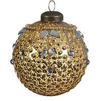 Шар стекло золотой с листьями из страз KA060345