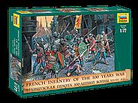 Сборная модель набор солдатиков Французская пехота 100-летней войны XIV-XV века 1\72, Звезда, фото 1