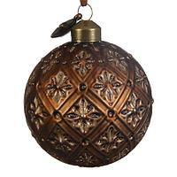 Шар стекло коричневый с золотым узором KA060383