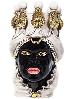 """Testa di Moro Ваза сицилийская """"Голова Мавра"""" с подсвечниками ручной работы, керамика и золото"""