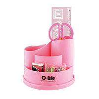 Набор настольный 4 предмета, крутящийся, пластик, розовый
