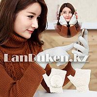 Зимние сенсорные перчатки  2 в 1 с варежками (белая)