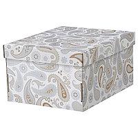 Коробка с крышкой СМЕКА серый, с рисунком ИКЕА, IKEA