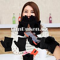 Зимние сенсорные перчатки 2 в 1 с варежками (черная)