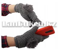Зимние сенсорные перчатки 2 в 1 с варежками (серая)