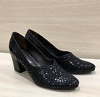 Туфли чёрные, кожа под рептилию