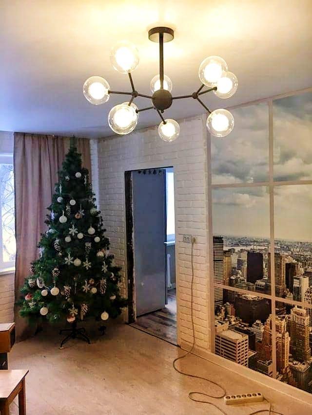 Люстра в стиле Лофт на 9 ламп со стеклянными плафонами