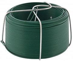 Проволока с ПВХ покрытием, зеленая 0,9 мм, длина 50 м. СИБРТЕХ