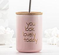 """Стакан """"You look lovely today"""" 480 мл, с деревянной крышкой и трубочкой"""