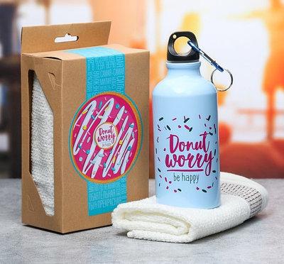 """Подарочный набор """"Donut worry"""" из бутылки для воды (400 мл) и полотенца"""