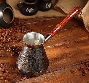 """Медная турка для кофе """"Виноград"""" объем 600 мл."""