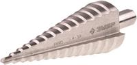 """Сверло ЗУБР """"ЭКСПЕРТ"""" ступен. по сталям, цв.мет.ст.Р6М5 с кобальт.покрыт.d4-30 мм,14ст.d4-30, L-100мм, трехгр."""
