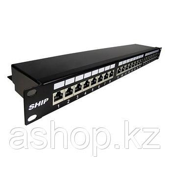 Патч-панель экранированная (FTP) SHIP P199-24, Цвет: Чёрный, Портов: 24 шт., Кат. 6, Упаковка: Коробка