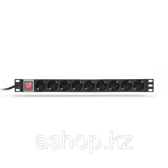 """Сетевой фильтр SHIP 700509102, 3 кВт, Длина кабеля: 2м., Разъемы: Тип F """"Schuko"""" (9 шт.), Цвет: Чёрный, металл"""
