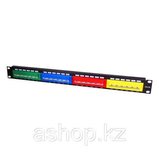 """Патч-панель цветная с портами под 45° SHIP P197-24D, Цвет: Разноцветный, Портов: 24 шт., Кат. 5e, Ширина: 19"""""""