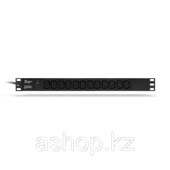 Сетевой фильтр SHIP 700512102, 2 кВт, Длина кабеля: 2м., Разъемы: Разъем C13 (12шт.), Цвет: Чёрный, металлик