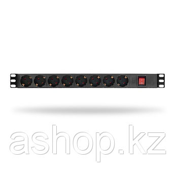 """Сетевой фильтр SHIP 700508102, 3 кВт, Длина кабеля: 1,8м., Разъемы: Тип F """"Schuko"""" (8 шт.), Цвет: Чёрный, мета"""