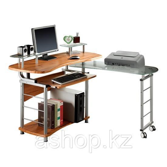 Стол компьютерный Deluxe Bravo, Материал: МДФ, стекло, Цвет: Красно-коричневый, (DLFT-3808CT)