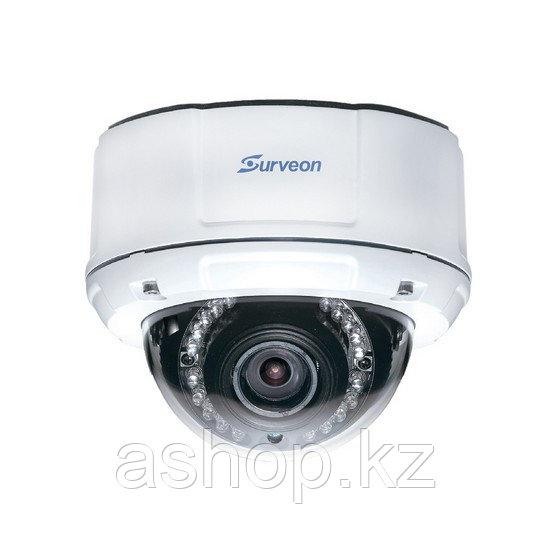 Камера IP купольная Surveon CAM4471V, Разрешение: 3 Mpi dpi, Тип объектива: вариофокальный f= 2,8 - 12 мм, Цве