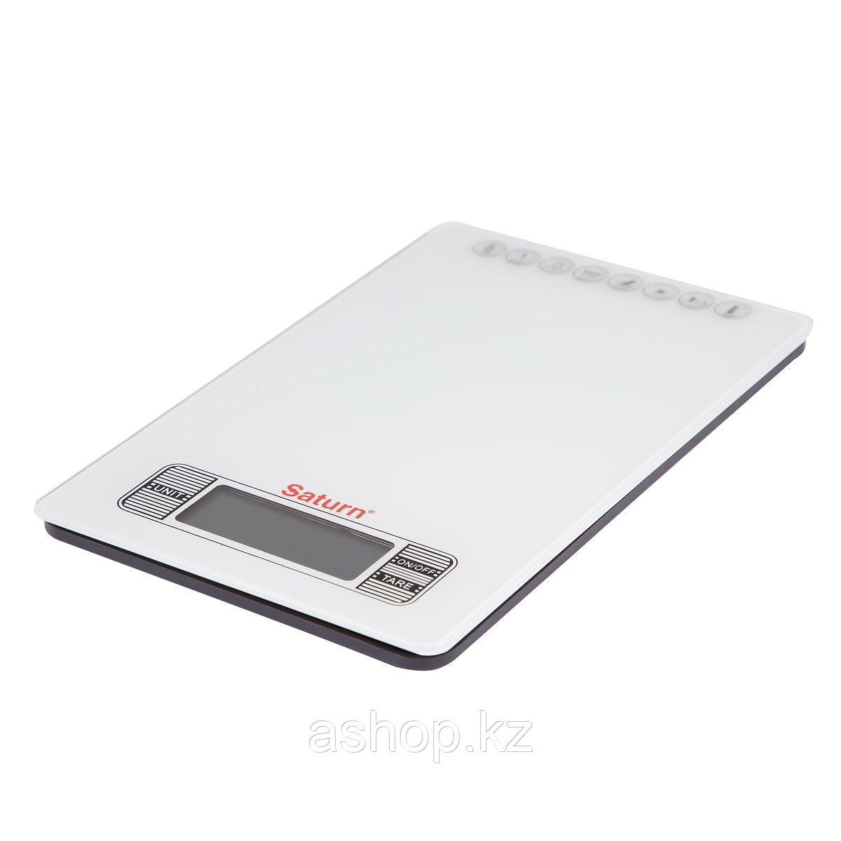 Весы кухонные ультратонкие Saturn ST-KS7235, Допустимый вес: 5 кг, Точность: 1 г, Замер горячих продуктов, Сте