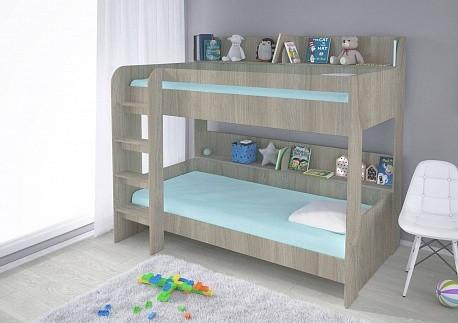 Кровать двух ярусная Polini Simple 5000 (вяз-белый), с полками