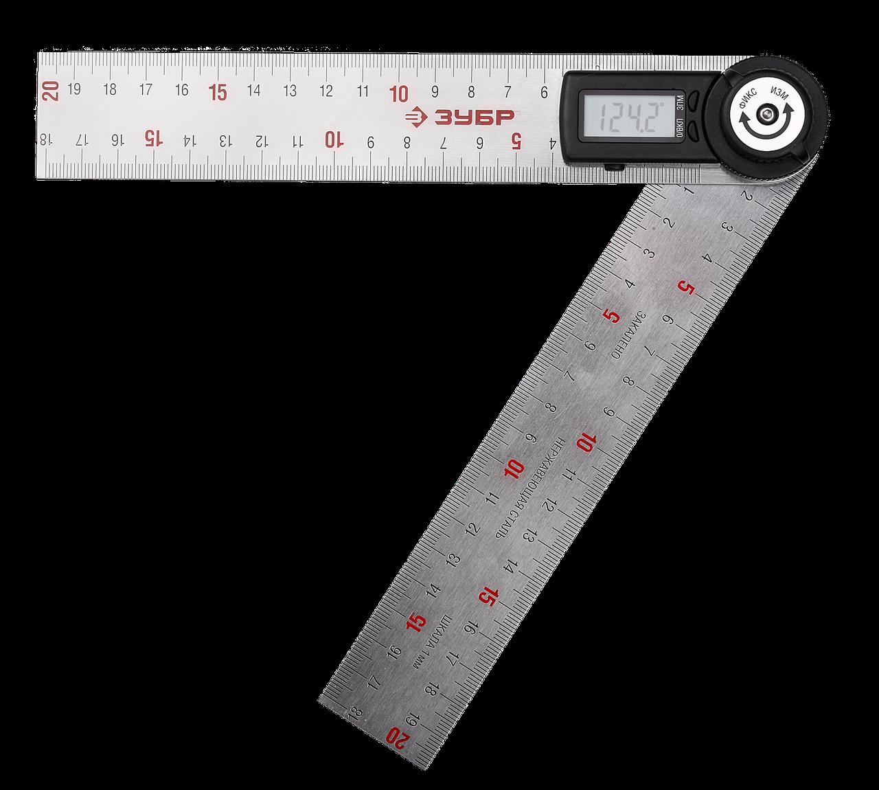 (34294) ТРУ-20 транспортир-угломер электронный, 200 мм, Диапазон 0-360°, Точность 0,3°, Фиксация угла, ЗУБР